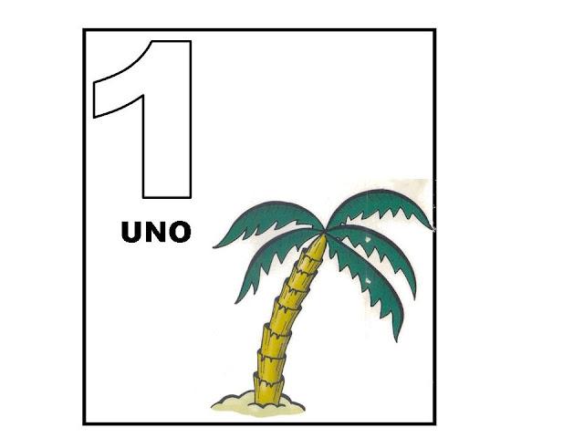 Fichas ilustradas con número del 1 al 20 para aprender a contar